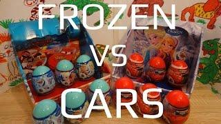 Disney Frozen Anna and Elsa VS Cars Lightning McQueen 12 Kinder Surprise Eggs